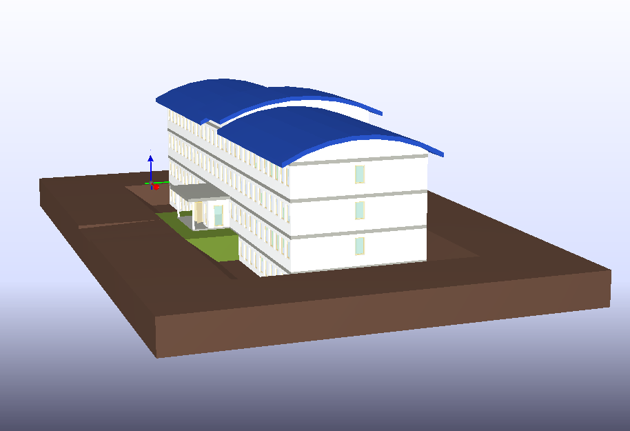 3D model of a building in a BIM viewer