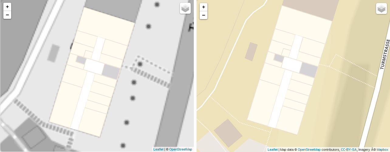 Comparing black and white OpenStreetMap vs Mapbox